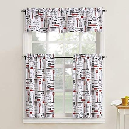 Mainstay Kitchen Utensils Motifs 3 Piece Kitchen Curtain Tier And Valance Set Red 54x37 Home Kitchen