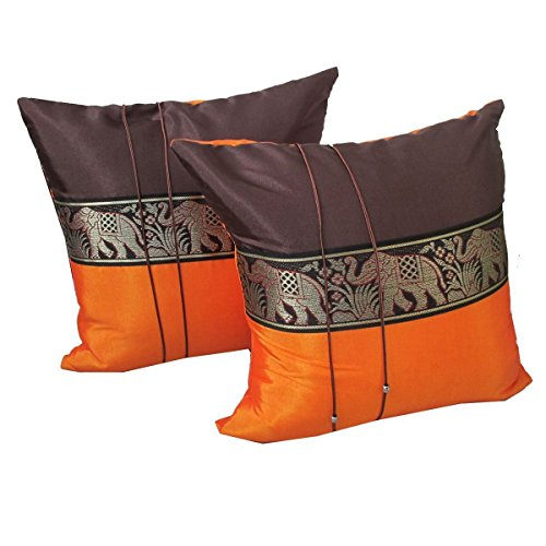 Set of Two Lupadu Dark Brown Orange Thai Silk Throw Cushion Pillow Cover Case With Elephant Middle Stripe for Decorative Living Room Sofa Car Size 16'' x 16'' by Lupadu