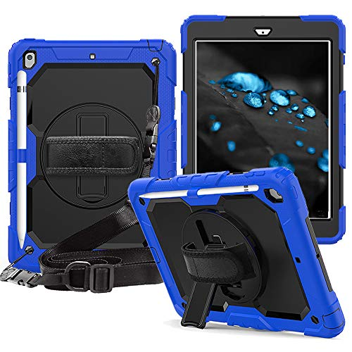 iPad 10.2 2019 Case, CLARKCAS [Built in Screen Protector] Shockproof Heavy Duty Protective Rugged Case with Strap for iPad 7th Generation 2019 Case 10.2'', Blue
