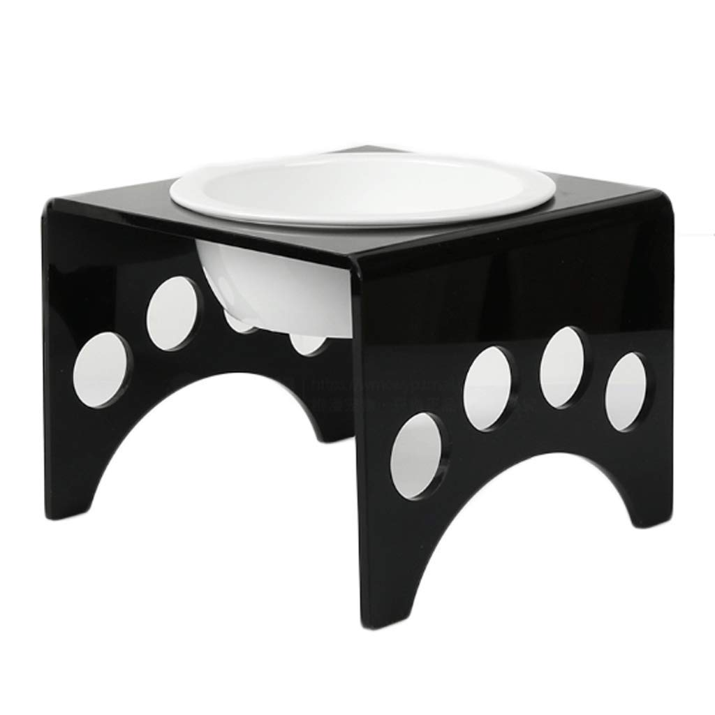 BLACK M BLACK M GJ Acrylic Single Bowl Pet Dining Table (color   BLACK, Size   M)