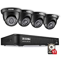 ZOSI 8 Channel 720P AHD-TVI Security Camera System,1080N CCTV DVR Recorder with 1TB Hard Disk Built-in and (4) 1280TVL Weatherproof Dome Cameras with 65ft Night Vision