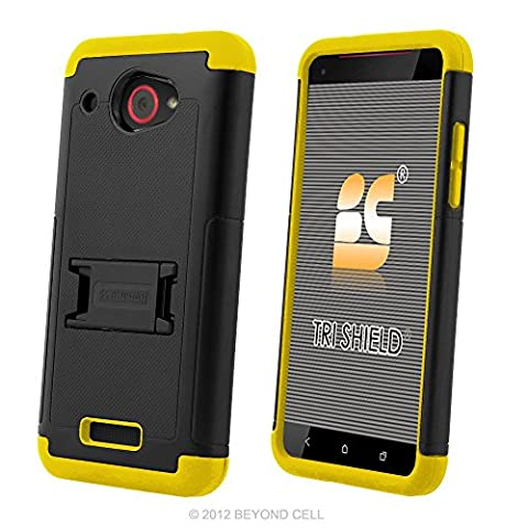 HTC Droid DNA Case, 6435, PimpCase Durable Hybrid Rugged [Full Body Protection] Armor Shockproof Black Yellow Phone Cover With Built In Kickstand And Screen (Cover Htc Droid Dna 6435)