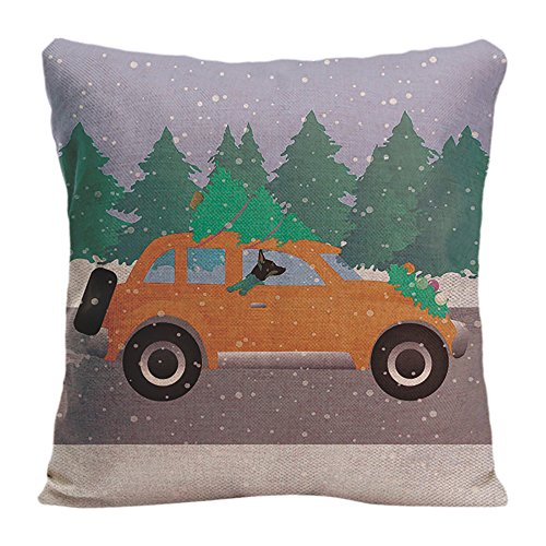 LDJ Cotton Linen Square Throw Pillow Case Decorative Cushion Cover Pillowcase Design With Rat Terrier Driving A Christmas Car With A Tree Custom Pillow Cover Print One Side Sized 18x18 - Pillow Linen Terrier