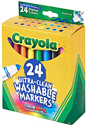 Crayola Markers 24 count Bulk Pack of Ultra Clean Washable Broad Line Markers, 24 assorted Classic Colors, Gift for Kids and used as poster markers for teachers (24 Colors)
