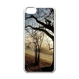 Autumn Foggy Morning IPhone 5C Cases, Iphone 5c Case Luxury Anti Fall Okaycosama - White