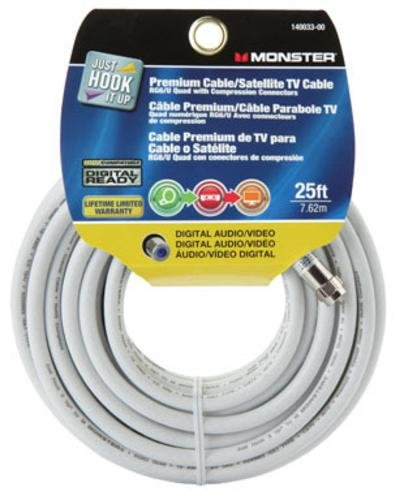 CABLE RG6 QUAD 25' WHITE by MONSTER JHIU MfrPartNo 140033-00 by Vanco International