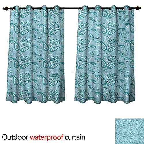 (WilliamsDecor Paisley Home Patio Outdoor Curtain Mehndi Style Sacred Authentic Hippie Persian Flowers Traditional Print W72 x L63(183cm x 160cm))