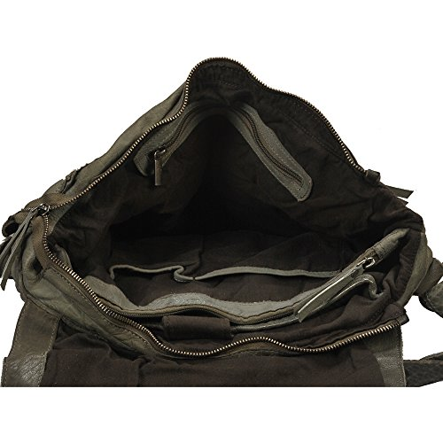 """Vilenca """"40698 Grigio"""" messenger bag in pelle con tracolla regolabile colore naturale, Dimensioni- (L36cmxH23cmxB11cm).."""