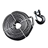 95ft x 3/8'' 20000+ LBs Synthetic Fiber Winch Line Cable Rope (Gray Winch with Black Hook)