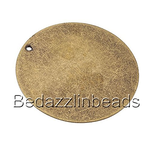 6 Big 1 5/16 inch Antiqued Flat Round Blank Engravable Stamping Coin Charm Pendants (Antique Bronze) - Engravable Bronze Antique