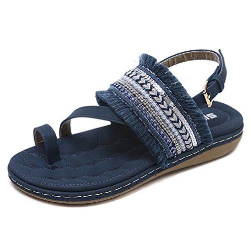 - CYBLING Women's Bohemian Flat Sandals Toe Ring Emborieded Strap Sling Back Flip Flop Shoes Navy