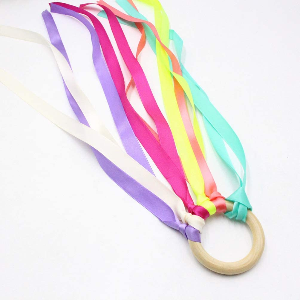NUOBESTY 2pcs Hand Kite Ribbon Runner Dance Ribbons Rhythmic Artistic Gymnastics Ribbon with Wood Round Handle 25cm