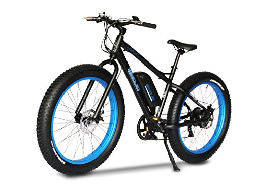Emojo Wildcat Electric Bike Mountain 26 inch Fat Tire Electric Power Bicycle, with 500W Motor and Removable 48V 10.4AH Lithium Battery (Black & Blue)