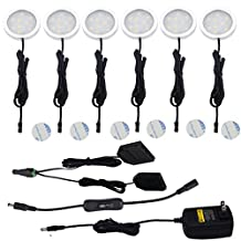 Aiboo Under Cabinet LED Lights Kit 6 Packs Slim Aluminum Puck Lamps with Switch 12Vdc 12W All Accessories Included (12W,Warm White)