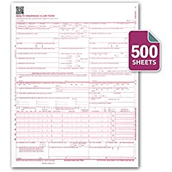 "CMS 1500 / HCFA 1500 Insurance Claim Forms - Laser / Ink-Jet Compatible (New Version 02/12) Letter Size 8-12"" x 11"" 500 Sheets Per Ream"