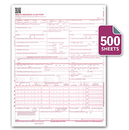 CMS 1500 / HCFA 1500 Insurance Claim Forms - Laser/Ink-Jet Compatible (New Version 02/12) Letter Size 8-12