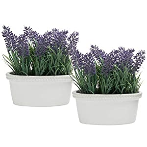 MyGift 6-Inch Artificial Lavender Plants in White Ceramic Planters, Set of 2 53