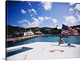 American flag fluttering on a ferry, St. John, US Virgin Islands Gallery-Wrapped Canvas