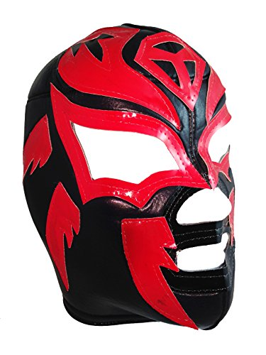 SOMBRA Adult Lucha Libre Wrestling Mask (pro-fit) Costume Wear - Black/Red ()
