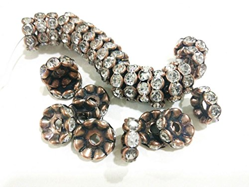 Copper Rhinestones (jennysun2010 Czech Crystal Rhinestone 18K Antique Copper Plated 6mm Clear Round Rondelle Wavy Edge Spacer Beads 100pcs per Bag for Bracelet Necklace Earrings Jewelry Making Crafts Design)