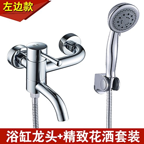 Left 边 + Economic Package NewBorn Faucet Kitchen Or Bathroom Sink Mixer Tap Water Mixing Valve Water Tap Hot And Cold Full Copper Bathtub Water Tap Shower Water Tap Water Heater Switch Mixing Valve Left 边 + Booster Pack
