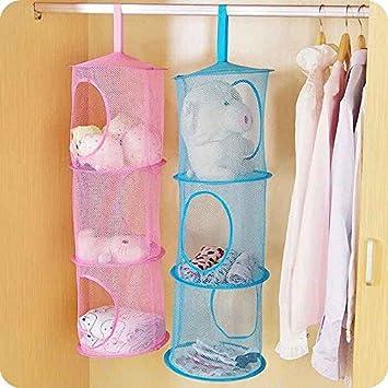 Generic morado: estante de 3 pisos con cremallera bolsa de almacenamiento de malla colgante de