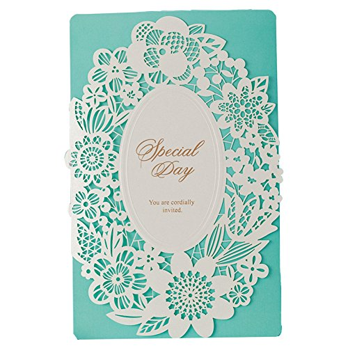 50X WISHMADE Blue Aquamarine Floral Laser Cut Tri-Fold Embossed Invitation with Blue Envelope for Wedding Anniversary Engagement Bridal Shower CW002