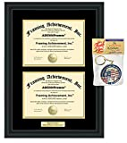Double University Degree Frames Holds Two Diploma for Dual College Majors or State Board Certificates Certifications Engraved Personalized Framing License Matte Black Plaque Etched