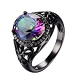 WOWJEW Jewelry Black Gold Filled Cubic Zirconia Rings Colorful Sapphire Ring Vintage Hollow