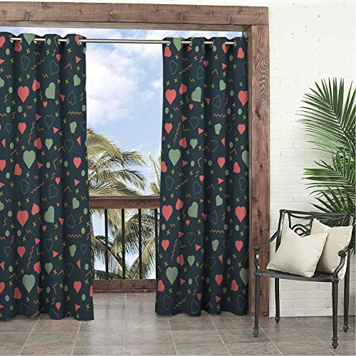 Linhomedecor Garden Waterproof Curtains Valent ES Day Love Cross Wavy leGeometry Multicolor Porch Grommets Print Curtains 120 by 84 inch