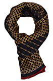 Ellettee, 63'' x 11'' Man's 100 Pure silk scarf wrap Accessory gift (BlackGold Chain)