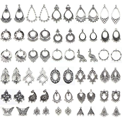 Drop Earrings Kit - JIALEEY Antiqued Tibetan Silver Earring Chandelier Earring Jewelry Making Kit for Earring Drop and Charm Pendant Assorted Pack (30Pair 60Pcs)