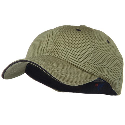 - Deluxe Mesh Sandwich Bill Fitted Cap - Khaki Navy OSFM