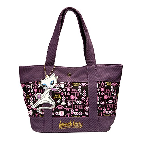 French Kitty borsa, melanzana colorato in iuta cord-optic – by La connessione internazionale