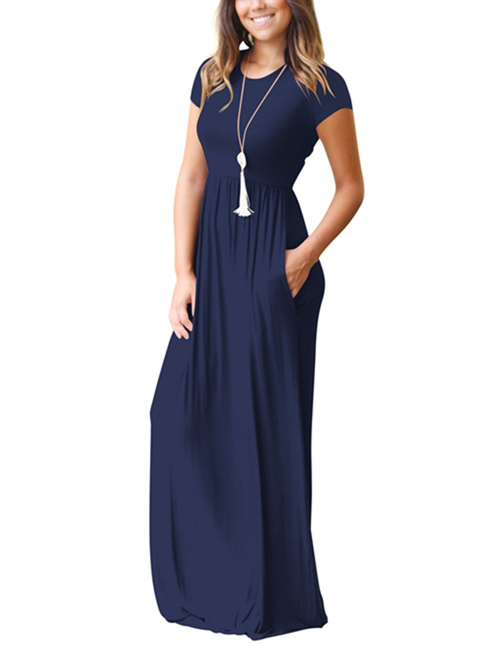 ORQ Women's Short Sleeve Loose Plain Casual Long Maxi Tunic Dress With Pockets by ORQ (Image #2)