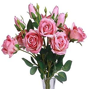 MARLLES Artificial Silk Pink Rose Flowers Bouquet Prefect Brithady Home Wedding Centerpieces Arrangements Decor (Pink) 6
