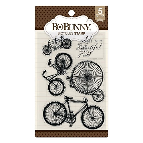 Bicycle Rubber Stamp - Bo Bunny 7310181 Bicycles Stamp, Multicolor
