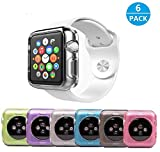 38mm Bumper 6 Pack by Tech Express for Apple iWatch Clear, Purple, Pink, Gray, Blue, Green Skin Hybrid Protective Case Shockproof Slim Ultra Thin Rugged Flexible Series 1 & 2 & 3 Colored TPU Gel