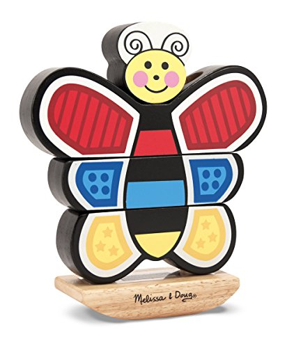 Insects Wooden Chunky Puzzle (Melissa & Doug Butterfly Stacker - Vertical Wooden Puzzle Toy)