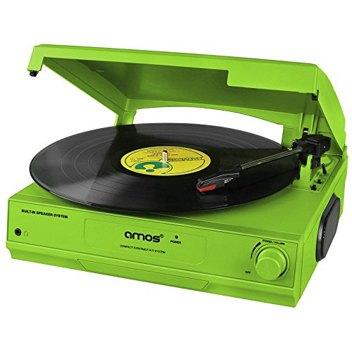 AMOS USB Turntable 3 Speed Vinyl Record Retro LP Player Recorder Vinyl to MP3 Digital Converter with Stereo Speakers & RCA Output + Audacity Software (Green)