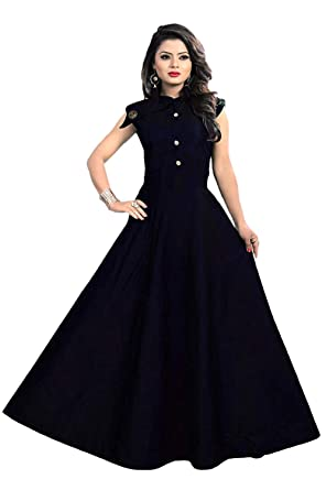 c7ac7772a9 Sanju Creation Women's Plain Tafeta Silk Anarkali Style Sleeveless Kurti/ Dress/Gown: Amazon.in: Clothing & Accessories