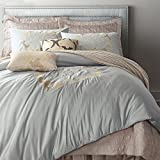 6-Piece Elegant Silver Grey Washed Silk Jacquard Duvet Cover Set with Embroidered Antique Flower,Romantic Wedding Bedding Sets Flat Sheet Sets with Decorative Pillow Cases,86''x94