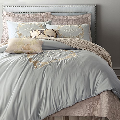 6-Piece Elegant Silver Grey Washed Silk Jacquard Duvet Cover Set with Embroidered Antique