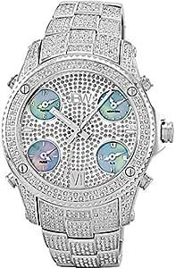 """JBW Men's JB-6213-C """"Jet Setter"""" Silver Stainless Steel Five Time Zone Diamond Watch"""