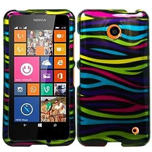 Plastic Rainbow Zebra Hard Cover Snap On Case For Nokia Lumia 635 (Accessorys4Less)