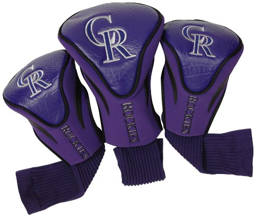 Team Golf MLB Colorado Rockies Contour Golf Club Headcovers (3 Count), Numbered 1, 3, & X, Fits Oversized Drivers, Utility, Rescue & Fairway Clubs, Velour lined for Extra Club ()