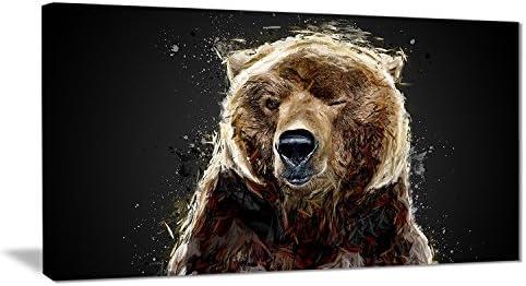 Digital art PT2301-40-20 Brown Bear Black-Large Animal Canvas Wall Art