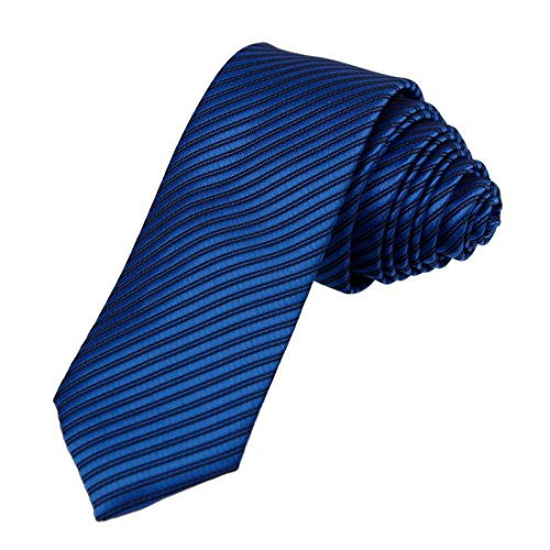 Necktie Stripe Blue (DAE2036 Royal blue Black Certificate Slim Tie Matching Gift Box Set Stripes Fashion Tie ST By Dan Smith, CID-046-16 ,One Size)