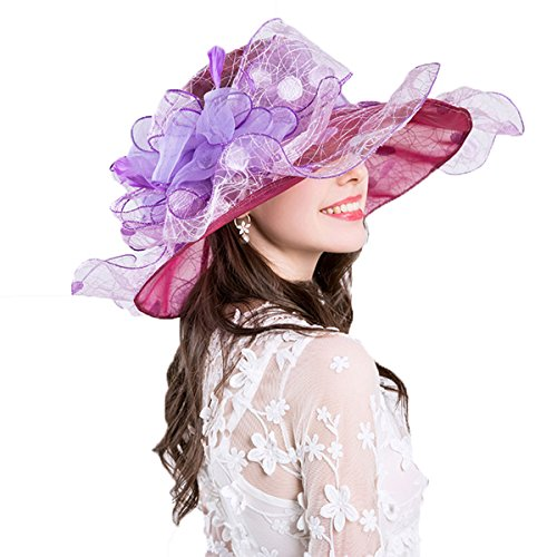 Dress Bridal Party Fascinator Hat Sun Flower Cap Women's Purple Derby Brim Tea Beige Wide Topfly® 1wTIq8E
