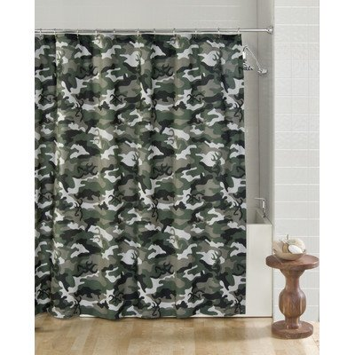 Browning Buckmark Camo Cotton Blend Shower Curtain Color: Green ()